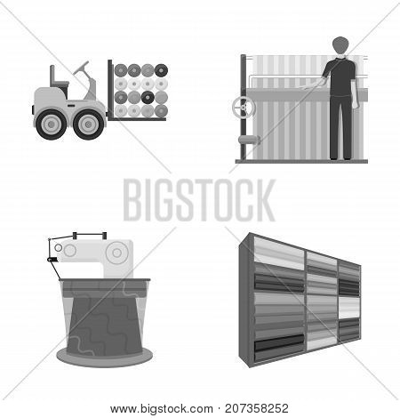Equipment, machine, forklift and other  icon in monochrome style.Textiles, industry, tissue, icons in set collection