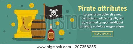 Pirate attributes banner horizontal concept. Flat illustration of pirate attributes banner horizontal vector concept for web design