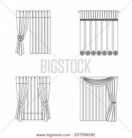 Curtains, drapes, garters, and other  icon in outline style. Textiles, furniture, bow icons in set collection