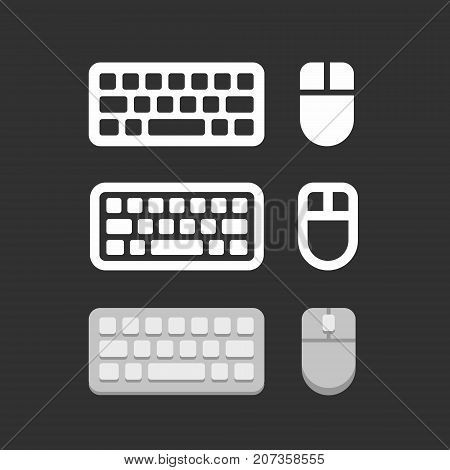 Keyboard and mouse icons flat style set, vector illustration on black background