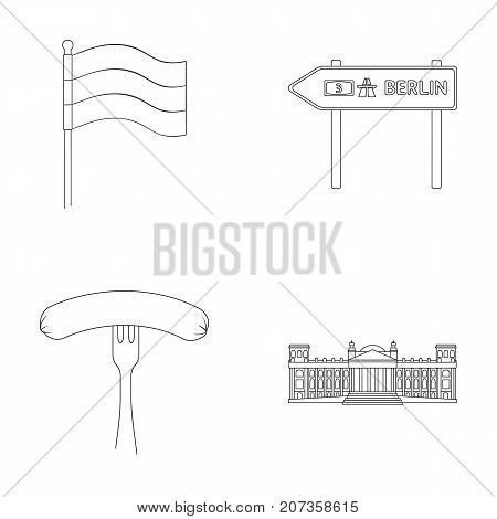 Flag, symbol, Germany, and other  icon in outline style. National, attributes, restaurant icons in set collection