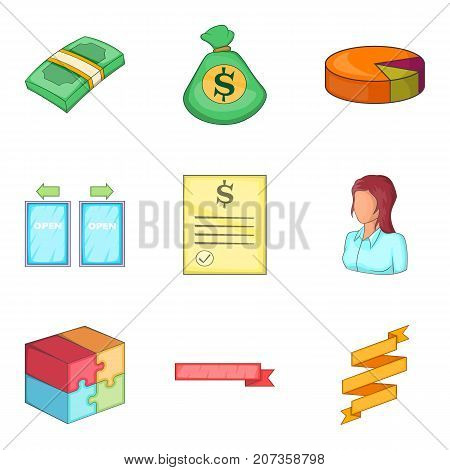 Income icons set. Cartoon set of 9 income vector icons for web isolated on white background