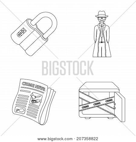 Coded lock, the appearance of the detective, a newspaper with criminal news, a hacked safe. Crime and detective set collection icons in outline style vector symbol stock illustration .