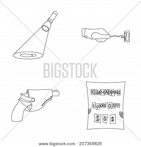 The detective's flashlight illuminates the footprint, the criminal's hand with the master key, a pistol in the holster, the kidnapper's claim. Crime and detective set collection icons in outline style vector symbol stock illustration .