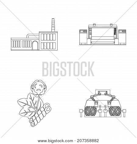 Factory, enterprise, buildings and other  icon in outline style. Textile, industry, fabric icons in set collection.