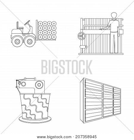 Equipment, machine, forklift and other  icon in outline style.Textiles, industry, tissue, icons in set collection