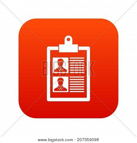 Resume of two candidates icon digital red for any design isolated on white vector illustration