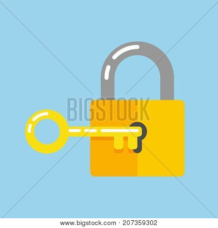 Lock with key in flat style icon. Padlock with key in the keyhole, vector illustration, security symbol, sign unlocking, access, password for Web, app, UI