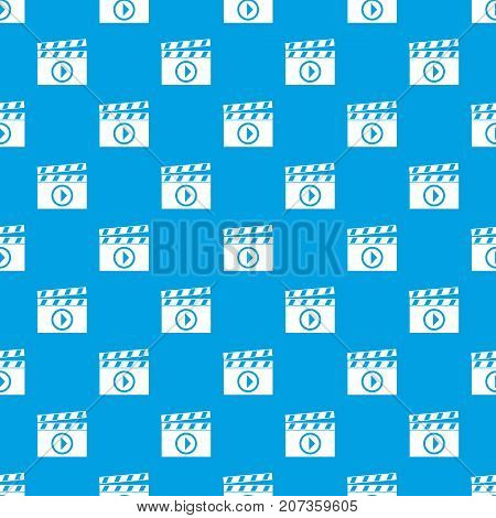 Clapperboard for movie shooting pattern repeat seamless in blue color for any design. Vector geometric illustration