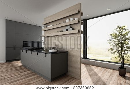 Small compact modern kitchenette with room divider wall and wood parquet floor lt by a large view window with houseplant. 3d rendering
