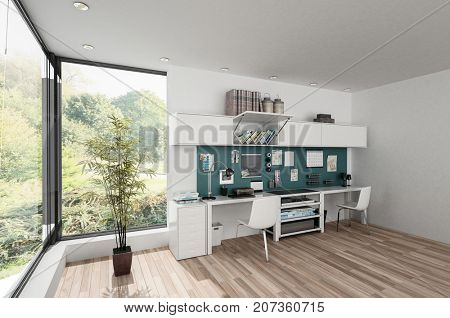 Furnished modern spacious bright room with workstations and houseplant by large windows. 3d rendering