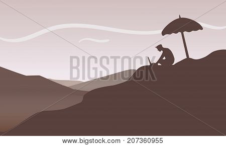 Businessman relaxing outdoor with laptop computer in a desert. Businessman with his freedom of work anywhere concept illustration vector.