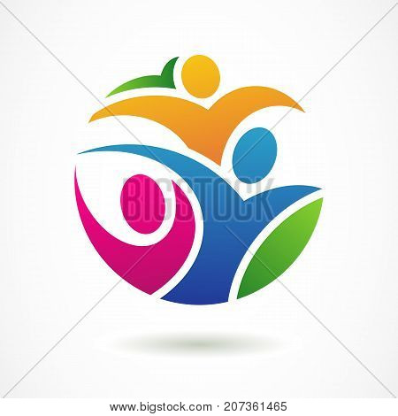 Vector Logo Design Template. Colorful Abstract Happy People In C