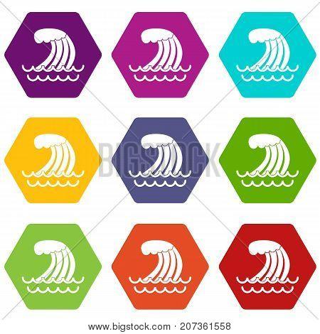 Tsunami wave icon set many color hexahedron isolated on white vector illustration
