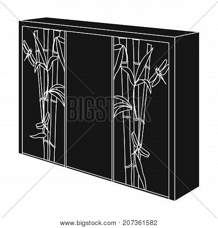 Wardrobe with mirror and green doors. the place for clothes.Bedroom furniture single icon in black style vector symbol stock web illustration.
