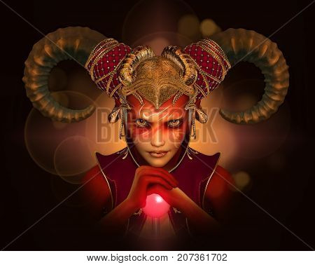 3d computer graphics of a person with fantasy makeup and headgear with ram horns