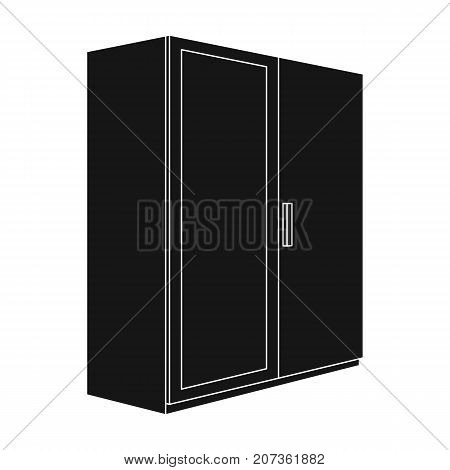 A small wardrobe with a clean mirror.Bedroom furniture single icon in black style vector symbol stock web illustration.