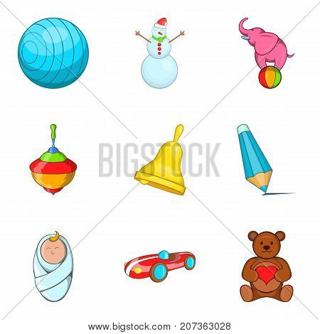 Varied childhood icons set. Cartoon set of 9 varied childhood vector icons for web isolated on white background