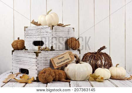 Happy Thanksgiving Tag With Shabby Chic Autumn Decor Against A White Wood Background