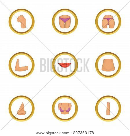 Parts of human body icons set. Cartoon style set of 9 parts of human body vector icons for web design