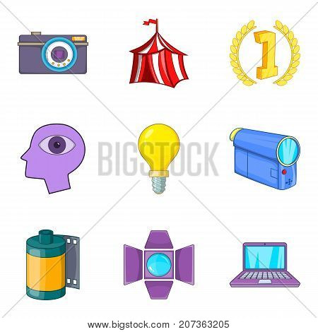 Manual camera icons set. Cartoon set of 9 manual camera vector icons for web isolated on white background