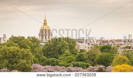 view of the roofs of the Invalides monuments from the Place du Trocadero Paris France