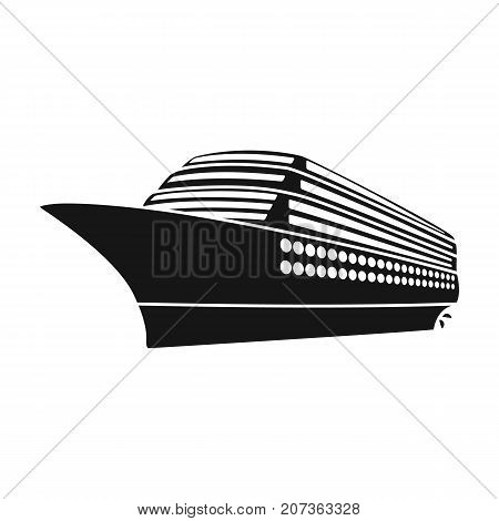 A huge cruise liner.Vehicle for travelling over long distances to a huge number of people.Ship and water transport single icon in black style vector symbol stock web illustration.