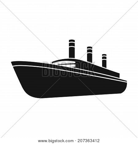 Huge cargo black liner.Ship for transportation of heavy thunderstorms on the sea and the ocean .Ship and water transport single icon in black style vector symbol stock web illustration.