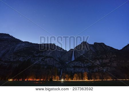 Night Star And Upper Yosemite Fall, Yosemite National Park, California, Usa