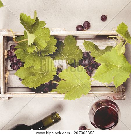 Wine and grapes over grey marble background, top view, copy space