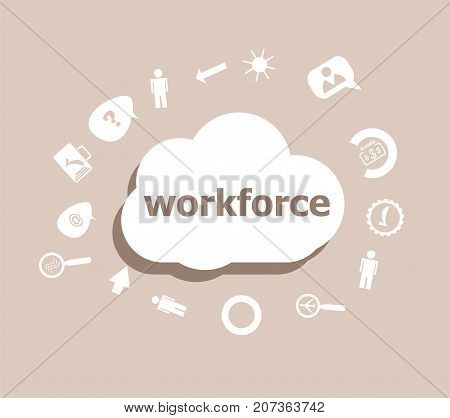 Text Workforce. Business Concept . Icons Set For Cloud Computing For Web And App