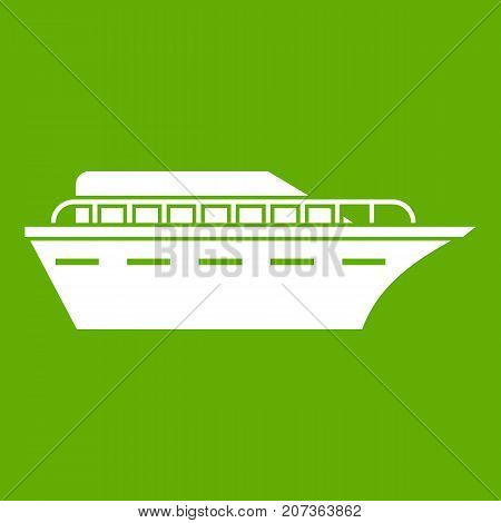 Powerboat icon white isolated on green background. Vector illustration