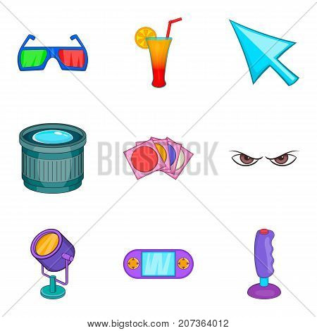 Picture theater icons set. Cartoon set of 9 picture theater vector icons for web isolated on white background