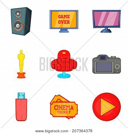 Movie house icons set. Cartoon set of 9 movie house vector icons for web isolated on white background