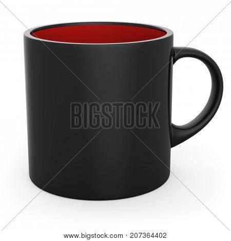 Blank black and red coffee mug for halloween design. 3D illustration.