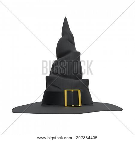 Black witch hat isolated on white background. Front view. Halloween symbol. 3D illustration.