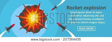 Rocket explosion banner horizontal concept. Flat illustration of rocket explosion banner horizontal vector concept for web design