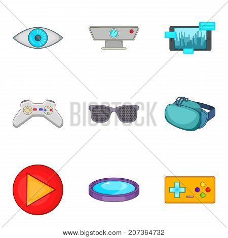 Home theater icons set. Cartoon set of 9 home theater vector icons for web isolated on white background