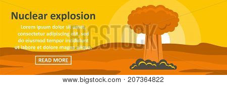 Nuclear explosion banner horizontal concept. Flat illustration of nuclear explosion banner horizontal vector concept for web design