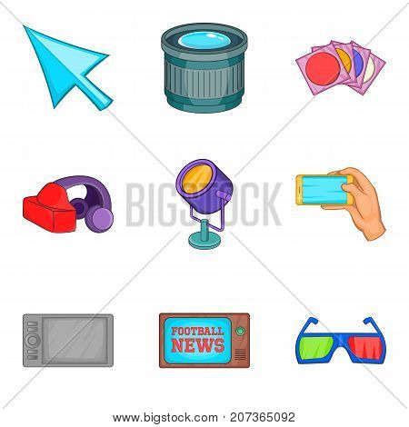 Shooting icons set. Cartoon set of 9 shooting vector icons for web isolated on white background
