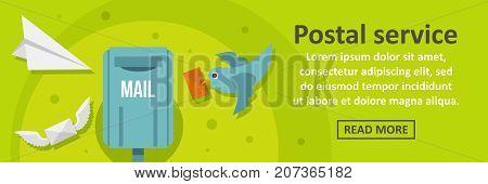Postal service banner horizontal concept. Flat illustration of postal service banner horizontal vector concept for web design