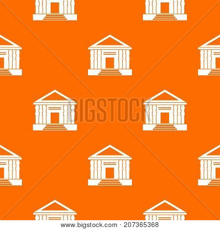 Colonnade pattern repeat seamless in orange color for any design. Vector geometric illustration