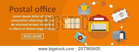Postal office banner horizontal concept. Flat illustration of postal office banner horizontal vector concept for web design