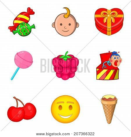 Interactive entertainment for kid icons set. Cartoon set of 9 interactive entertainment for kid vector icons for web isolated on white background