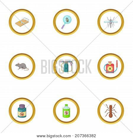 No insect icons set. Cartoon style set of 9 no insect vector icons for web design