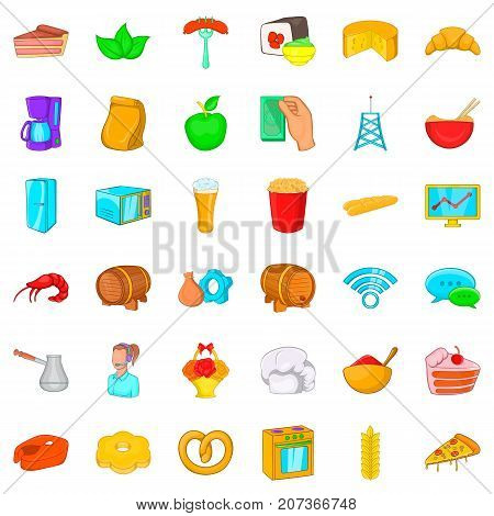 Oven icons set. Cartoon style of 36 oven vector icons for web isolated on white background