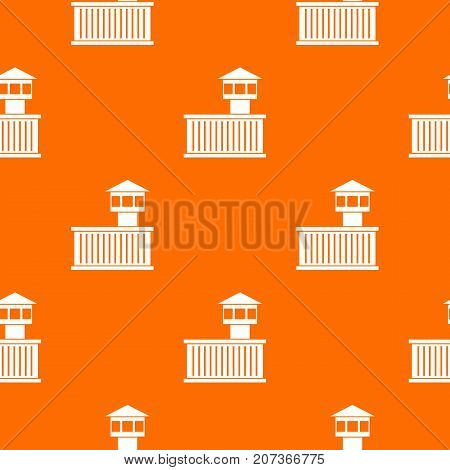 Prison tower pattern repeat seamless in orange color for any design. Vector geometric illustration