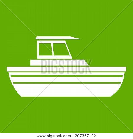 Motor boat icon white isolated on green background. Vector illustration