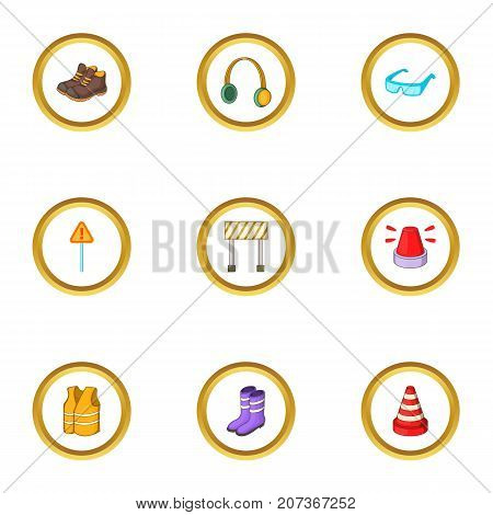 Outfit of road worker icons set. Cartoon style set of 9 outfit of road worker vector icons for web design