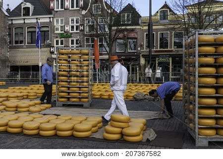 ALKMAAR NETHERLANDS - CIRCA APRIL 2007 - Every Friday from April through September the Alkmaar Cheese Market takes place on the square Waagplein in town.